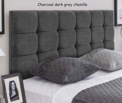 Charcoal dark grey chenille - Roma headboard